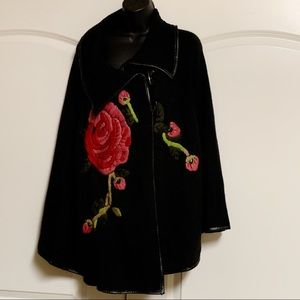 Radzoli Black Faux Leather Red Embroidered Cape
